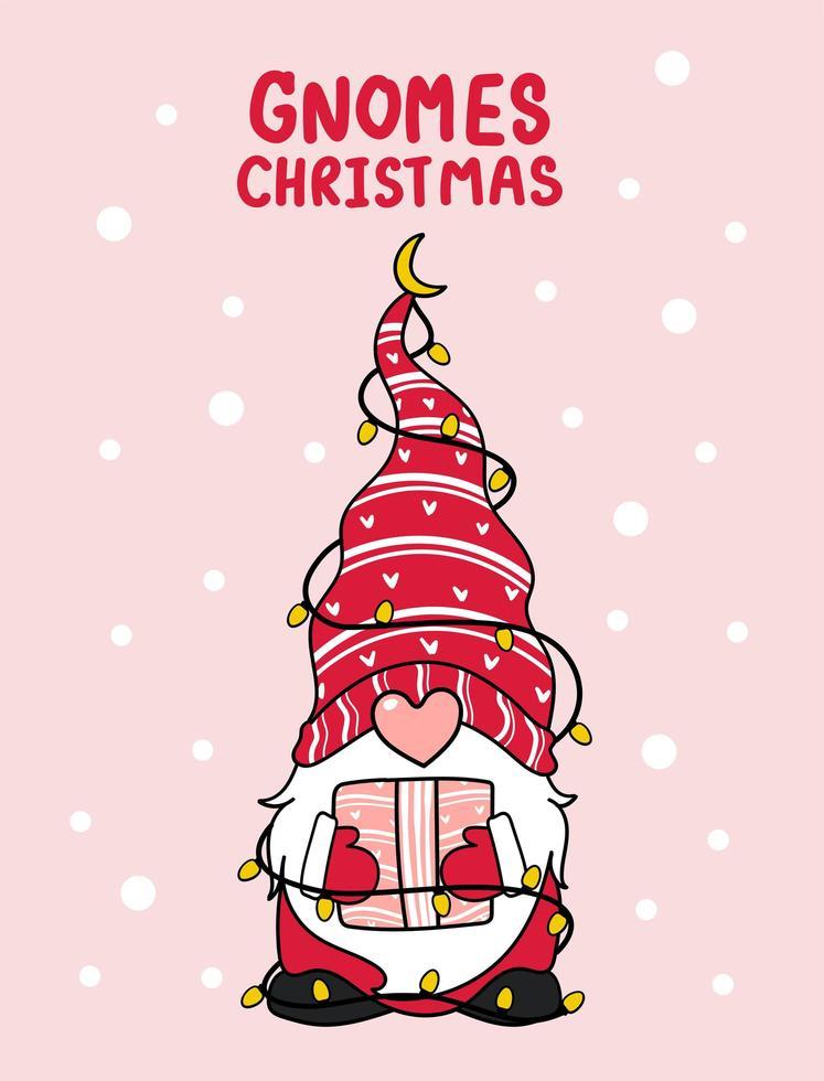 süßer Gnom mit Weihnachtslichtern vektor