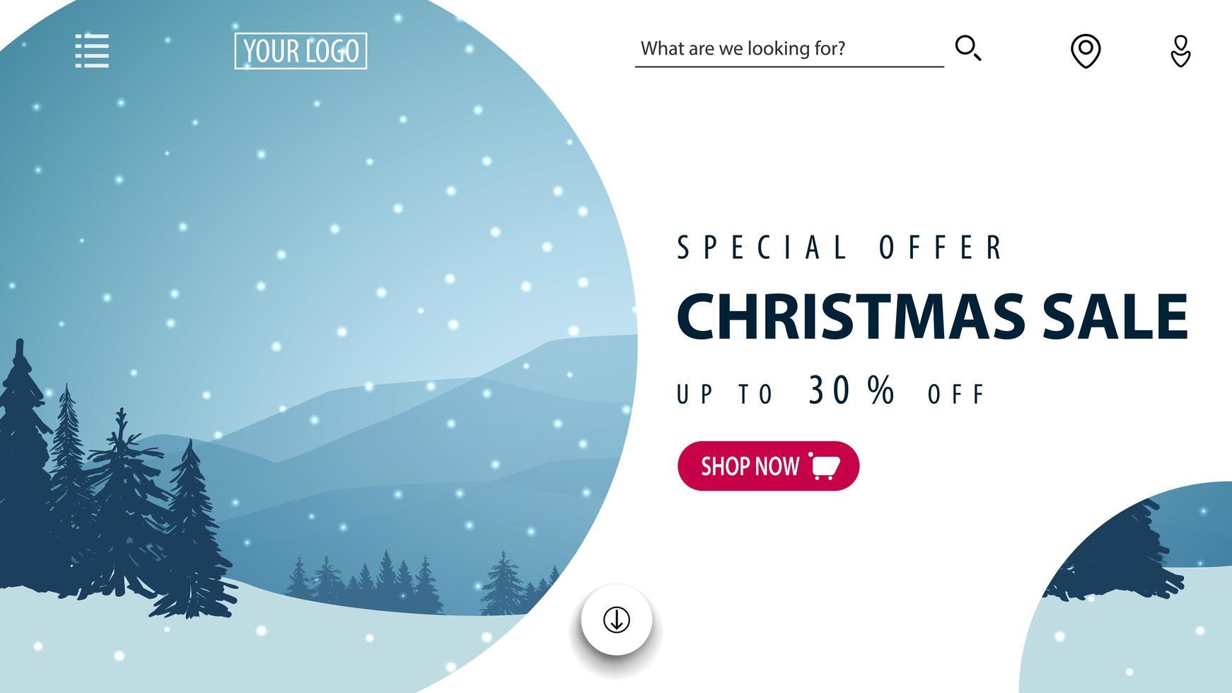 weißes Rabatt-Weihnachtsbanner für Website vektor