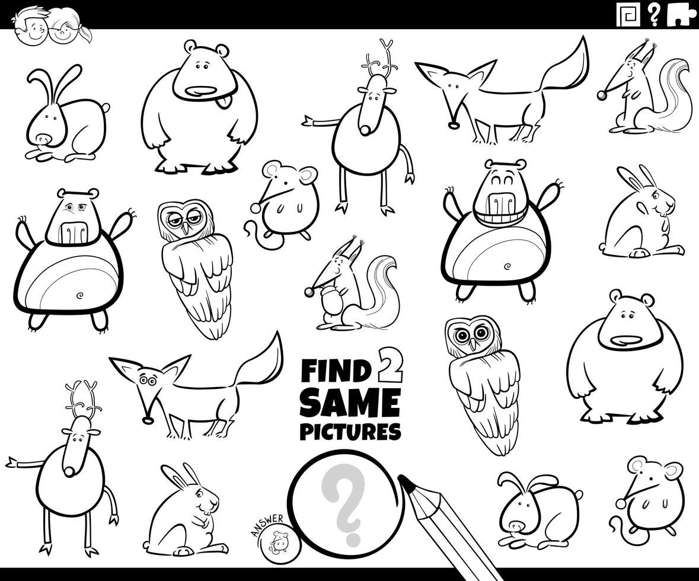 hitta två samma djur karaktärer spel färg bok vektor