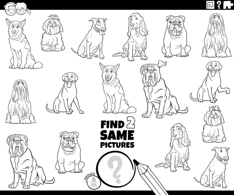 hitta två samma hundkaraktärer spel färg bok vektor