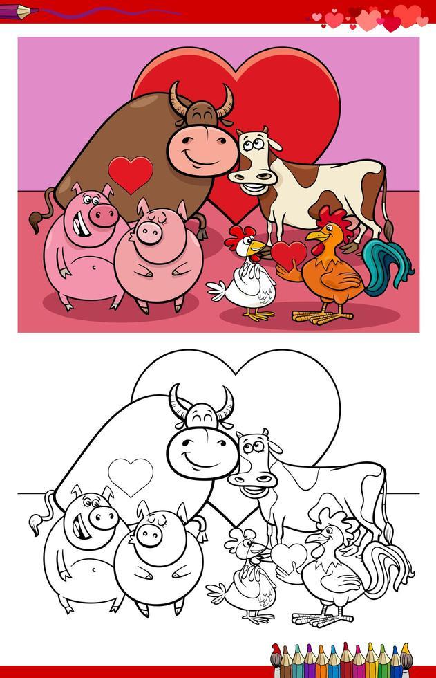 djur par i kärlek tecknad målarbok sida vektor