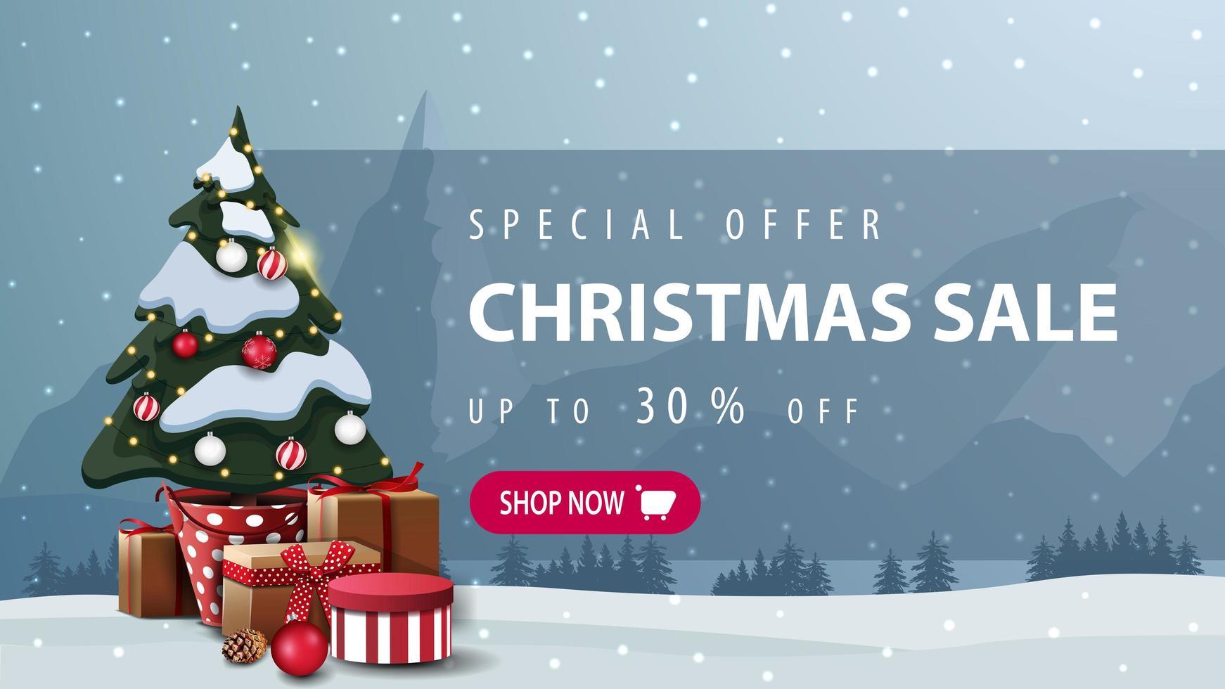 schönes Weihnachtsrabattbanner mit rosa Knopf vektor