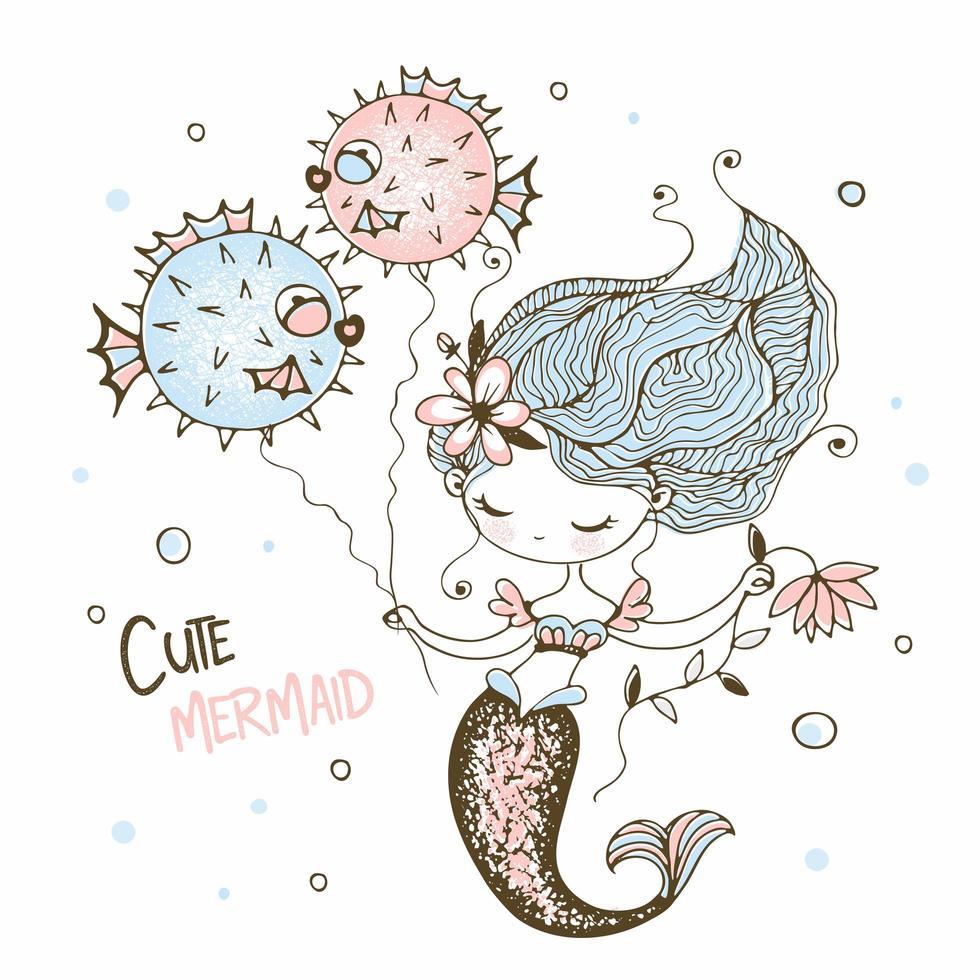 süße kleine Meerjungfrau mit lustigen Fischigel. vektor