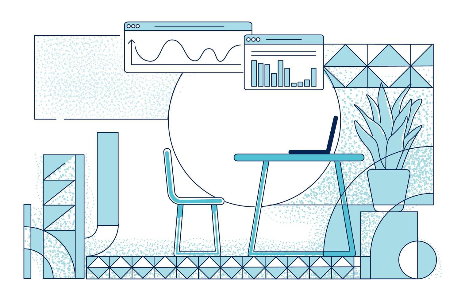 modernt kontorsrum inredning vektor