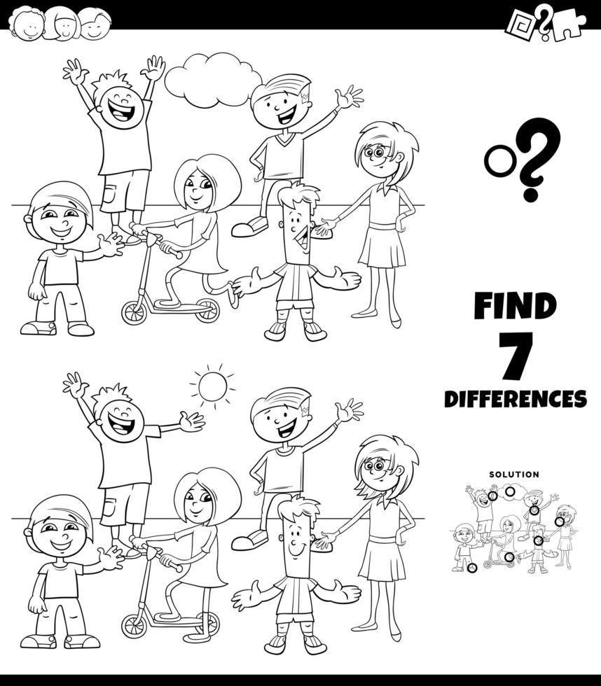 Unterschiede Färbung Spiel mit Kindergruppe vektor