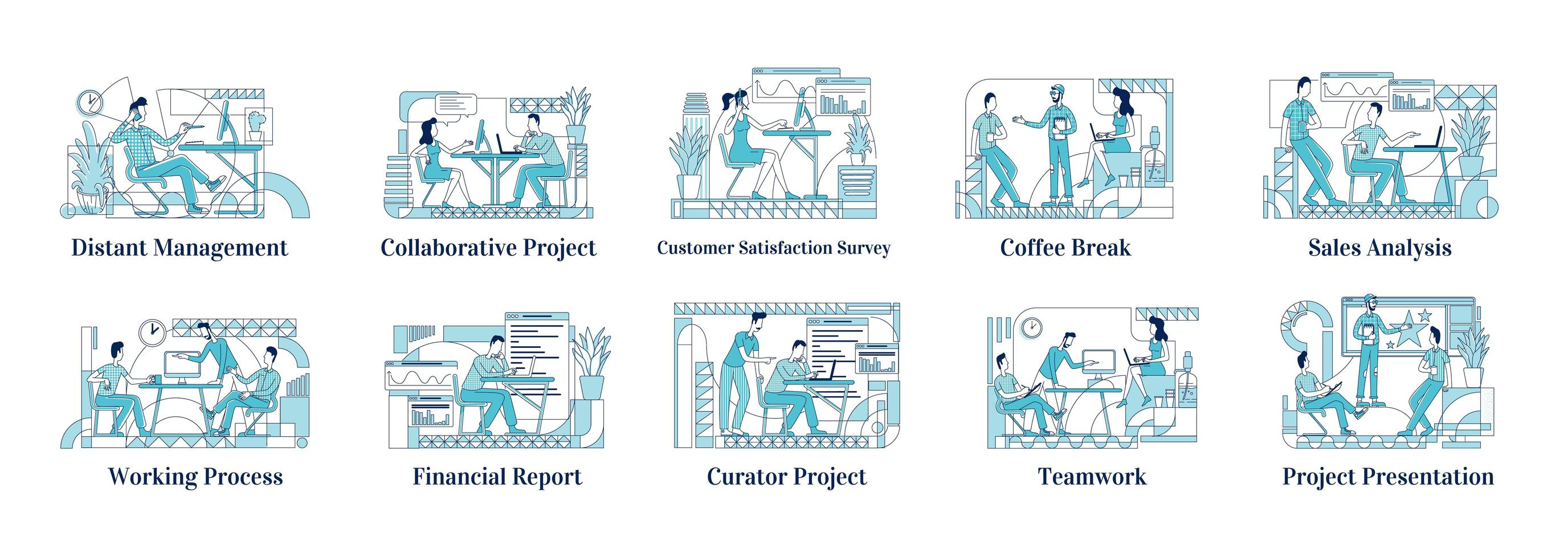 kontorsanställda vid arbetsuppsättningen vektor