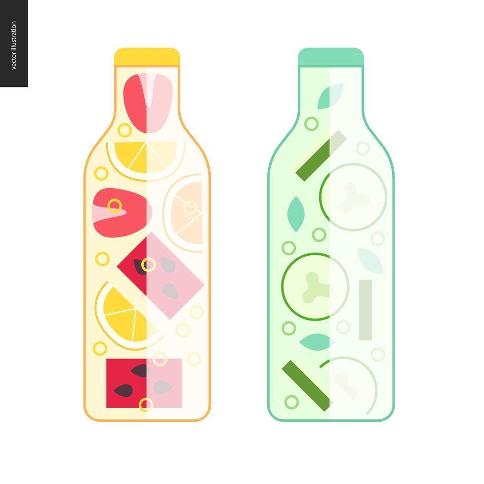 två flaskor detoxvatten vektor