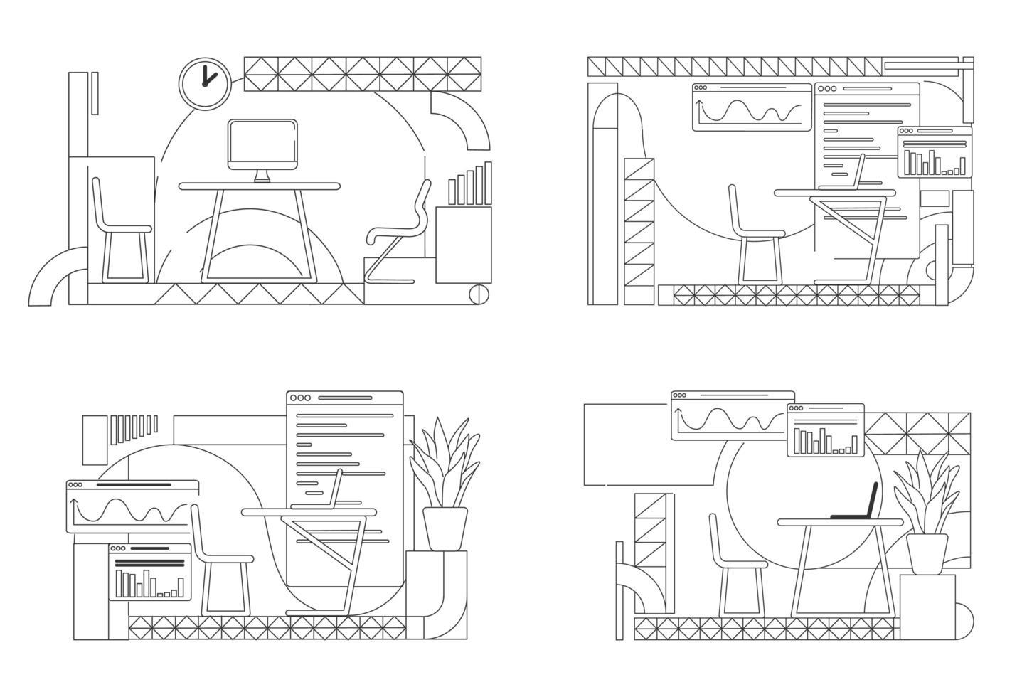 Büro Innenarchitektur Umriss Set vektor