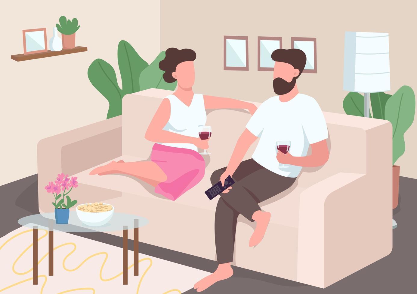 Paar mit einem Date zu Hause vektor