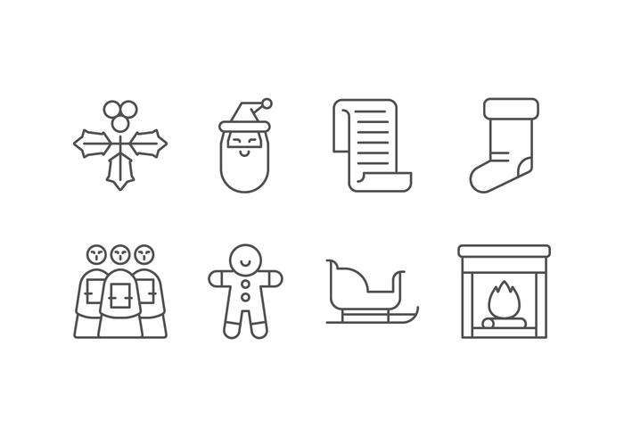 Weihnachtstag Set Icons vektor