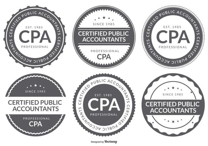 CPA-zertifizierte Wirtschaftsprüfer-Logo-Abzeichen-Sammlung vektor