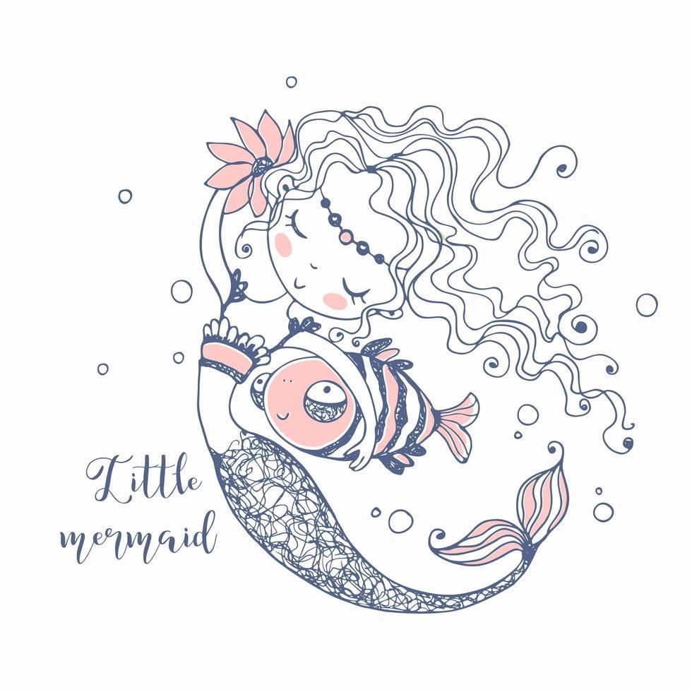 süße kleine Meerjungfrau mit einem Fisch. vektor