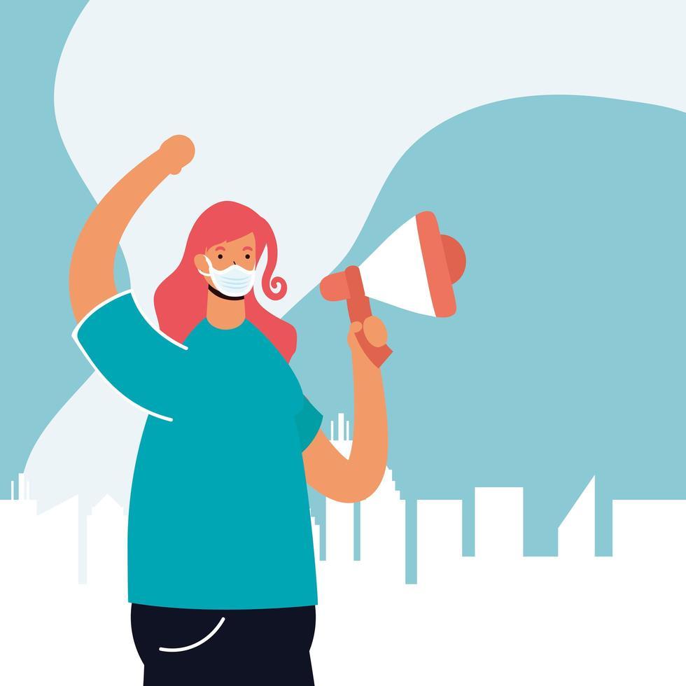 Frau trägt eine Gesichtsmaske und protestiert vektor