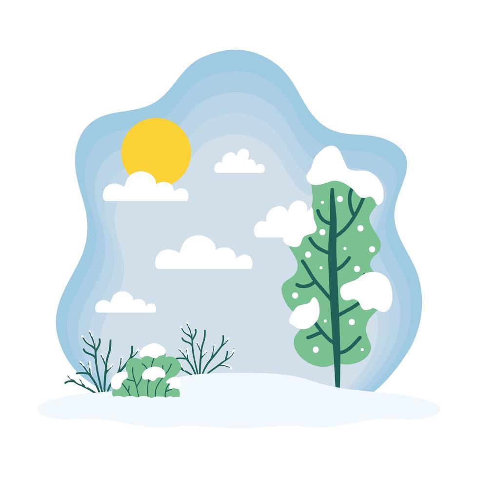 söt vintersäsong landskap, väder och klimat scen vektor