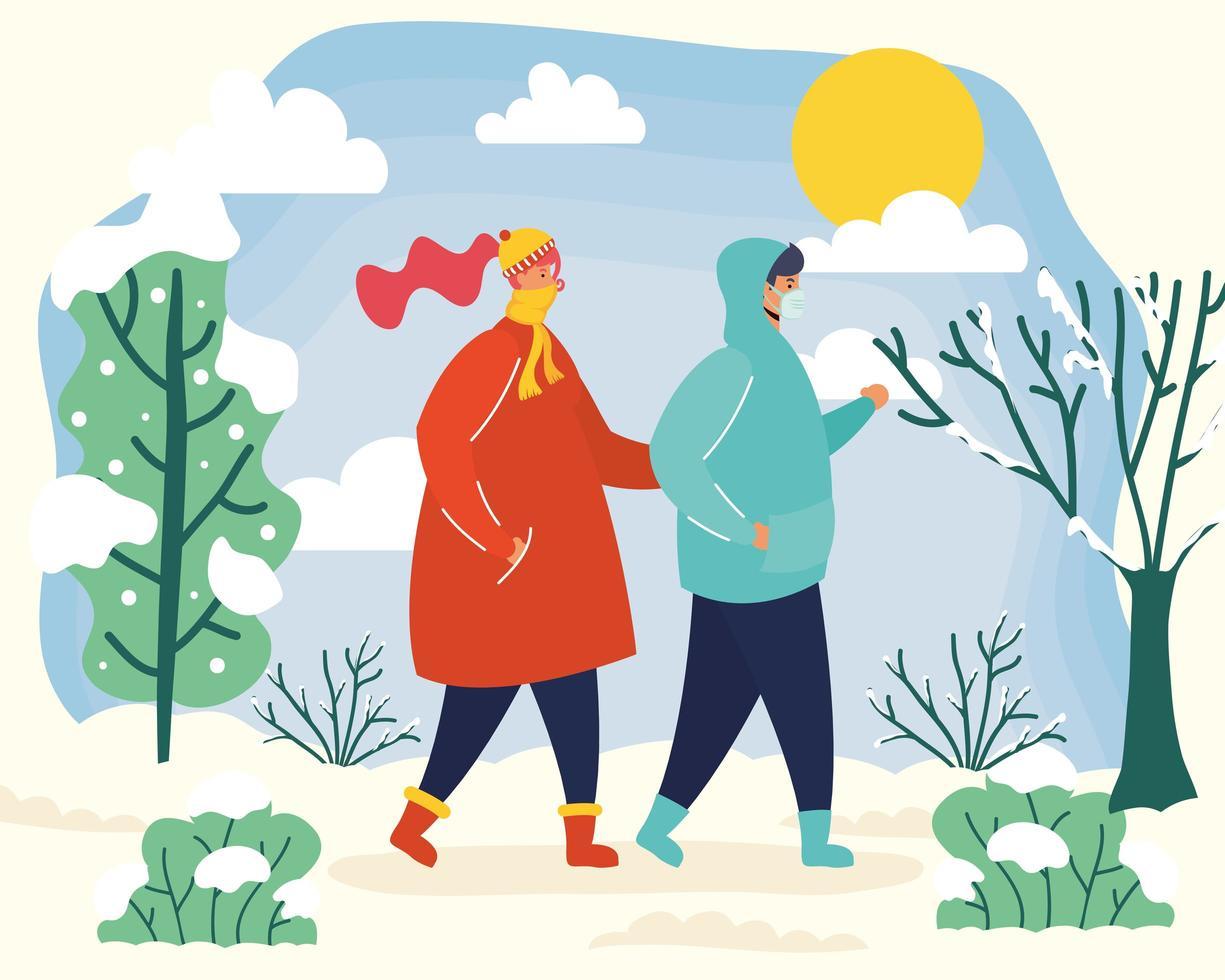 Paar mit Gesichtsmasken in einer Wintersaison-Szene vektor