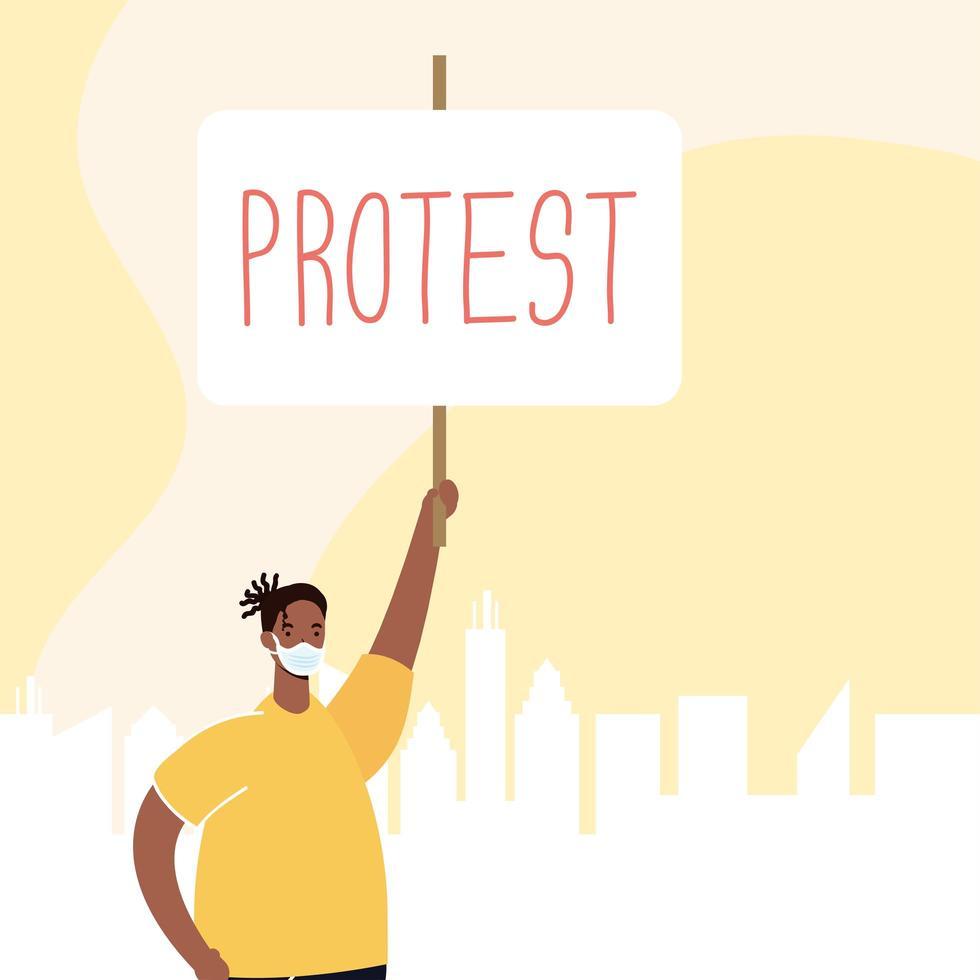 Mann trägt eine Gesichtsmaske und protestiert vektor