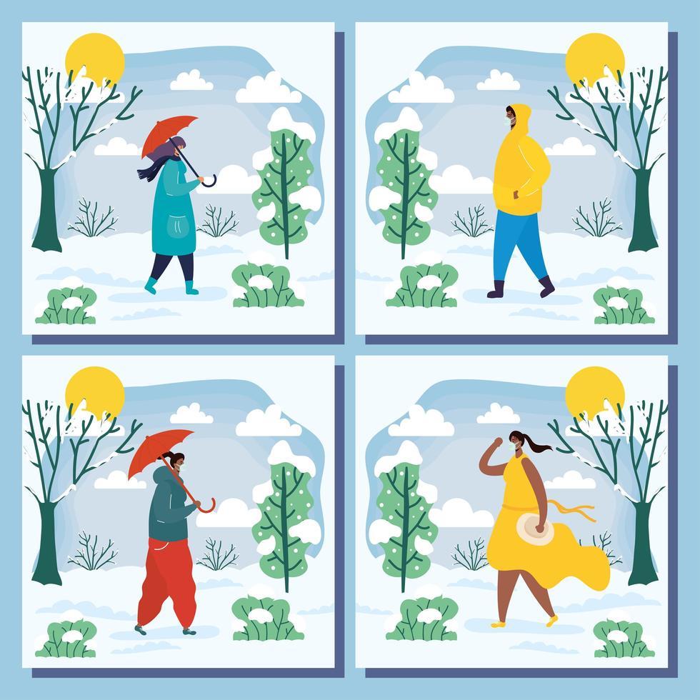 Menschen im Freien in einer Wintersaison Szene vektor