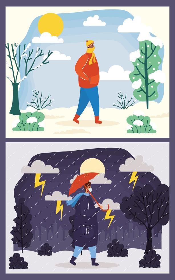 människor utomhus i olika säsongsscener vektor