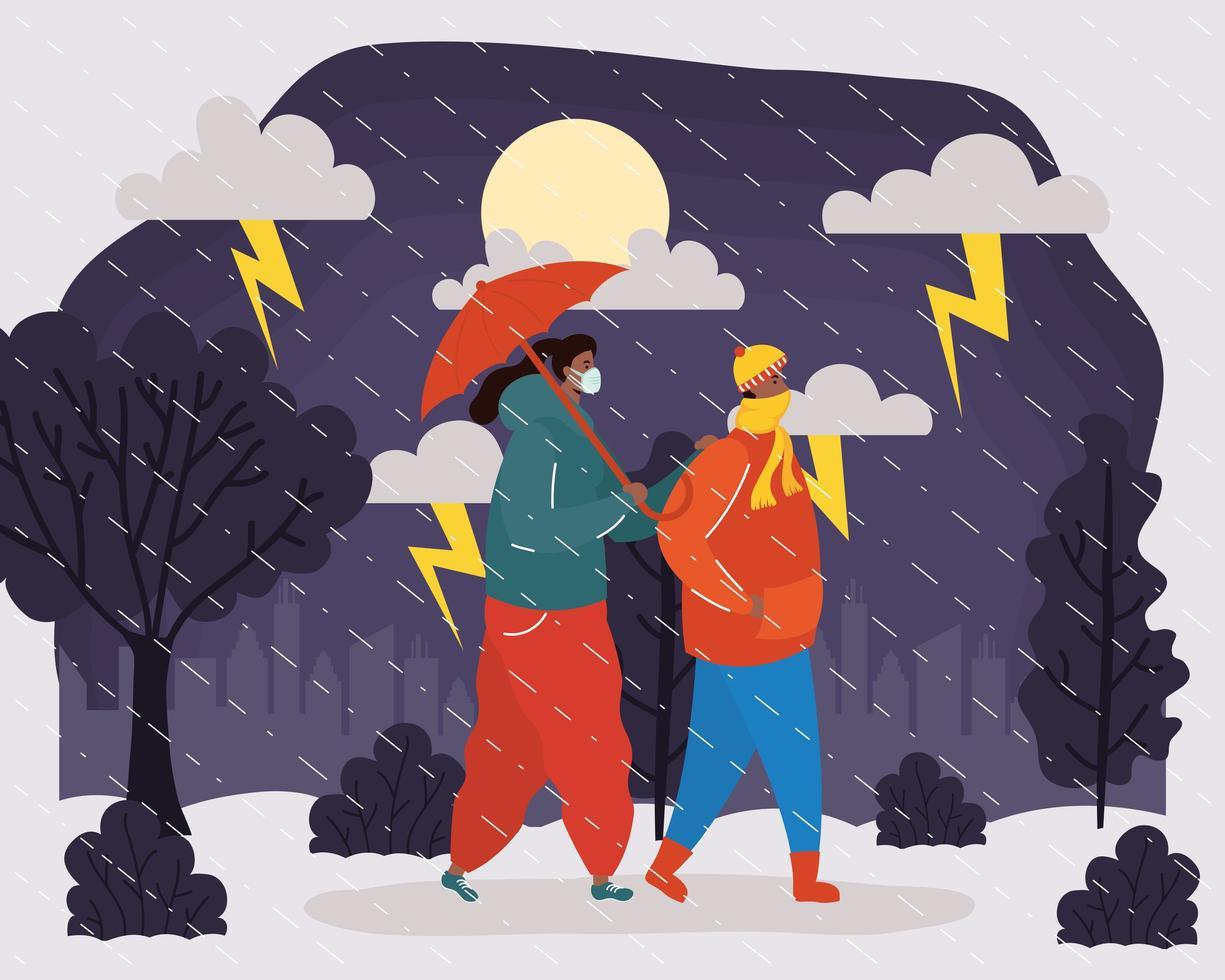 Paar mit Gesichtsmasken in einer regnerischen Wetterlandschaft vektor