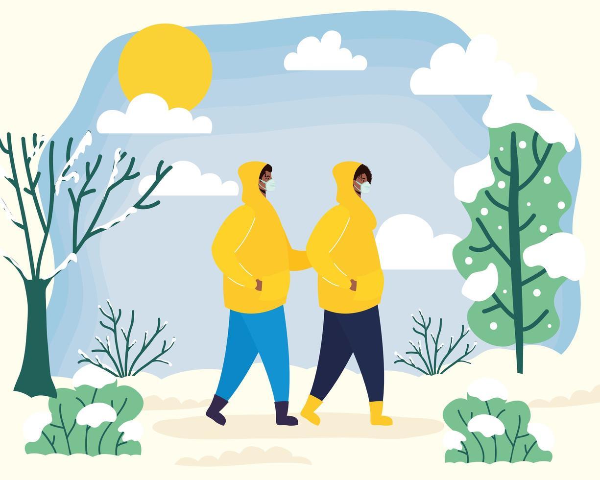 Paar mit Gesichtsmasken in einer Winterlandschaft vektor
