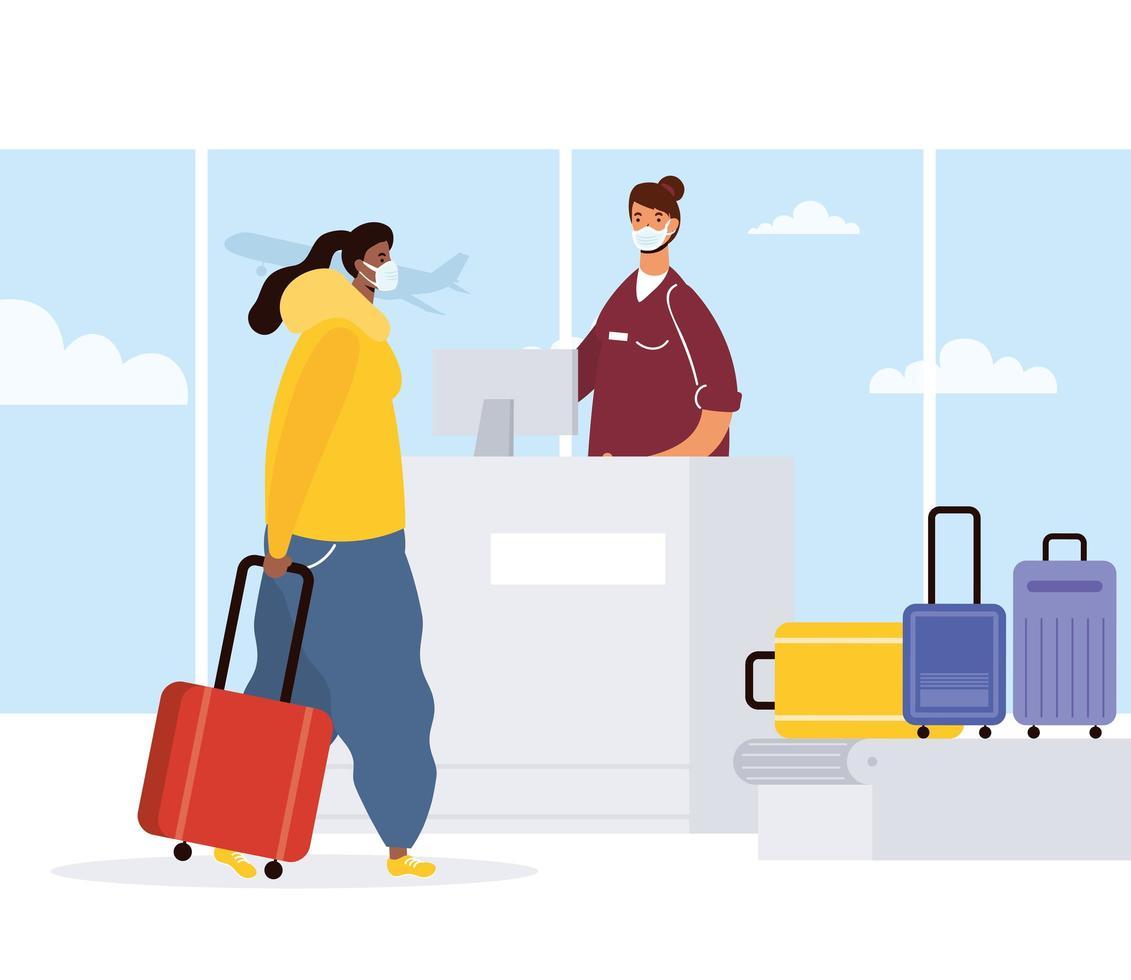 Frau mit Gesichtsmaske beim Einchecken am Flughafen vektor