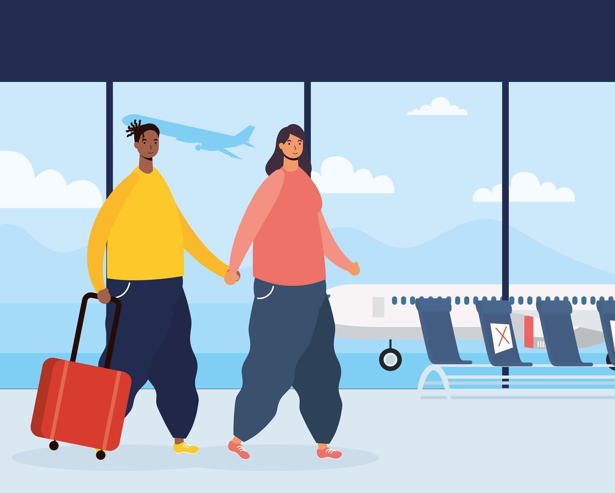 ett par resenärer med resväskor på flygplatsen vektor