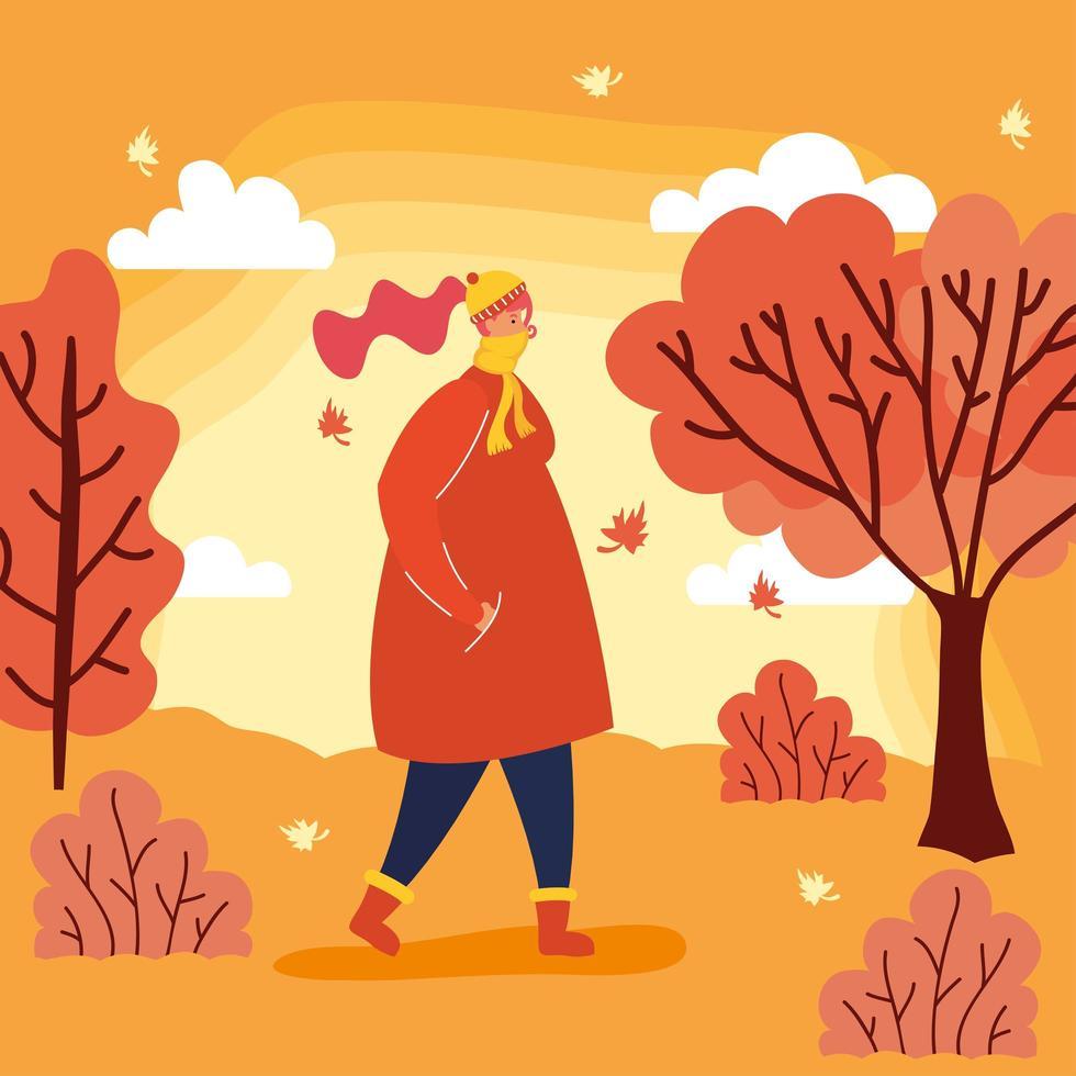 Frau mit einer Gesichtsmaske in einer Herbstlandschaft vektor