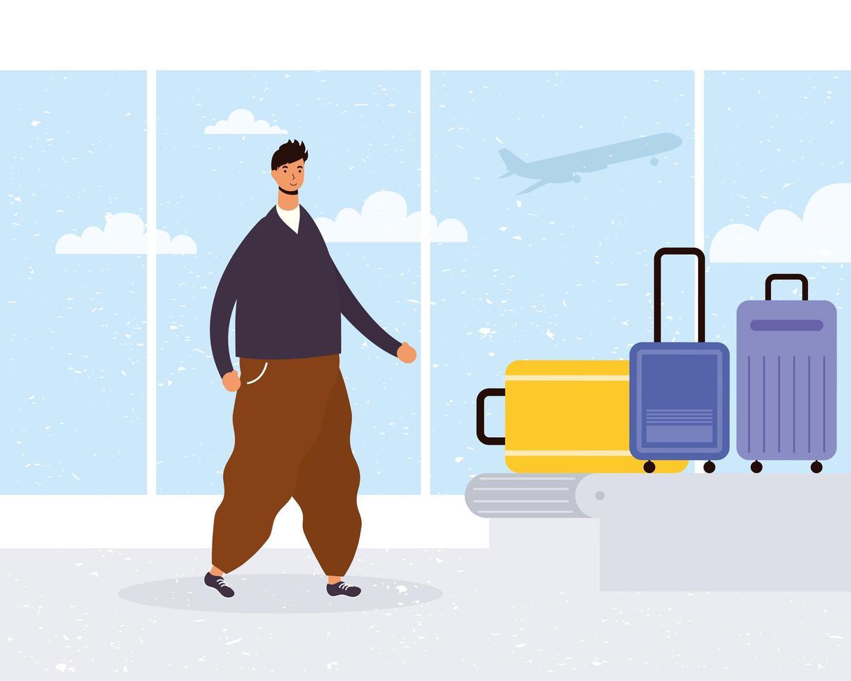 Mann am Flughafen mit dem Gepäckband vektor