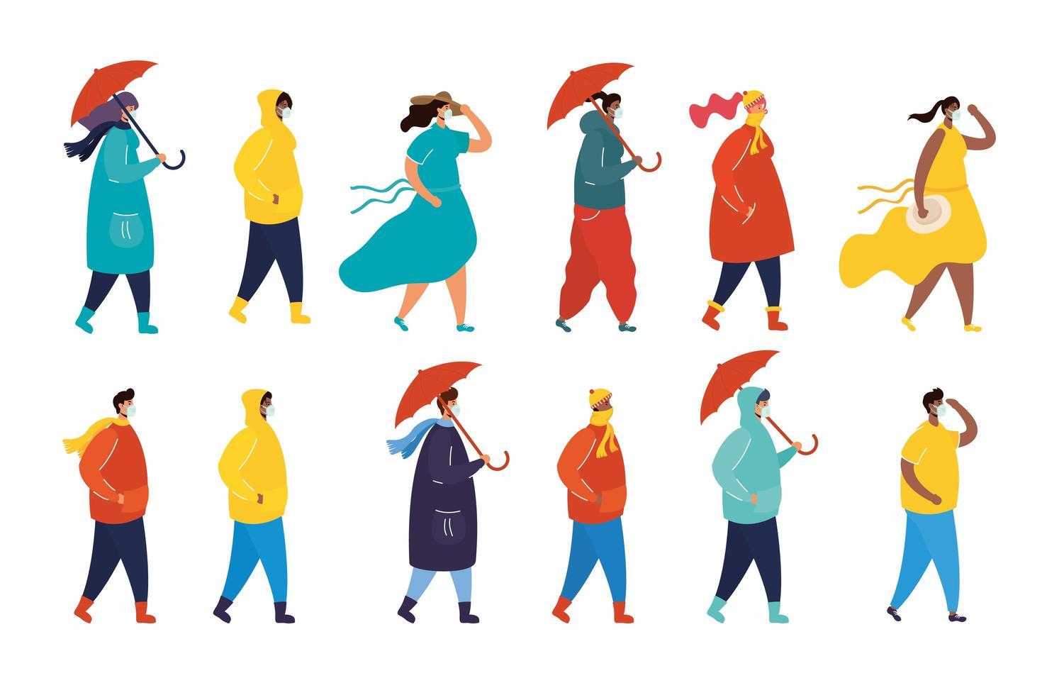 Personen mit Gesichtsmasken im Profilzeichensatz vektor