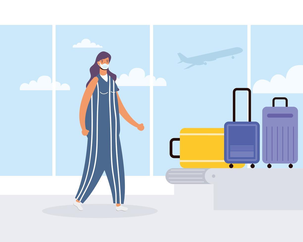 kvinna på flygplatsen med bagagekarusellen vektor