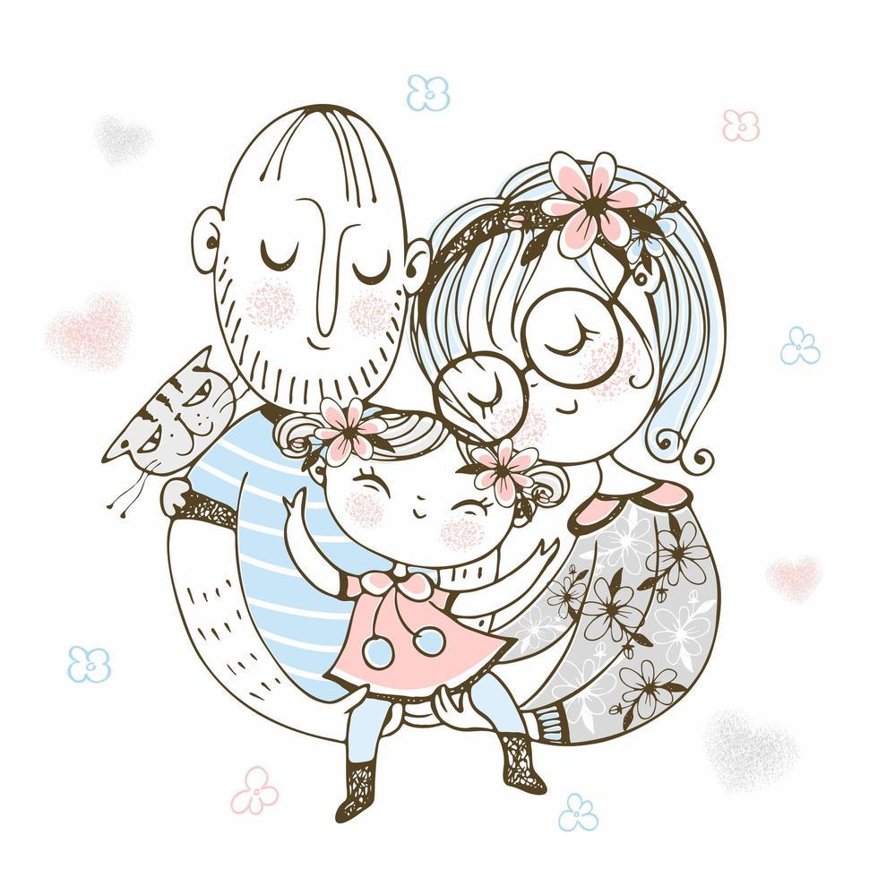 glückliche Familie. Mutter Vater und Tochter. vektor