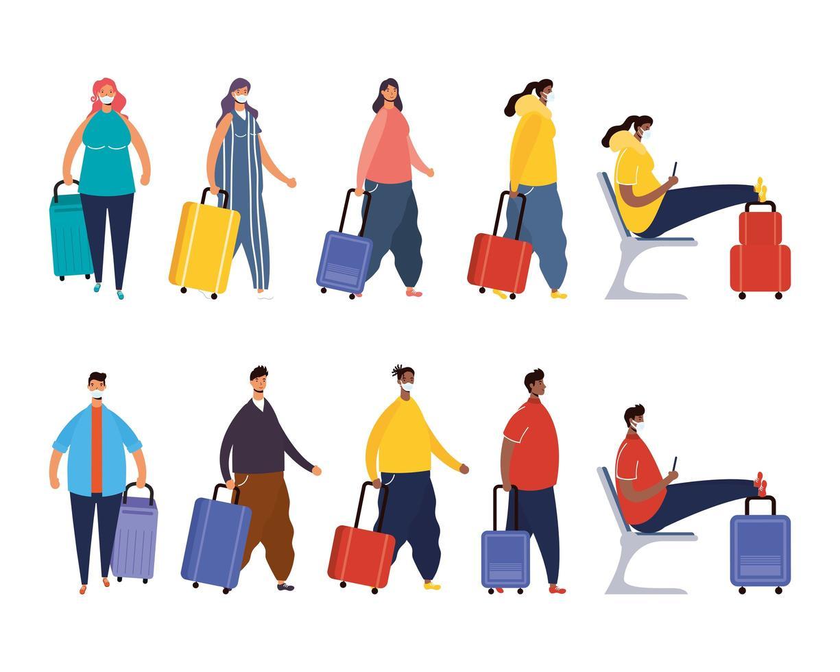 interracial resenärer med resväskor avatar karaktärer vektor