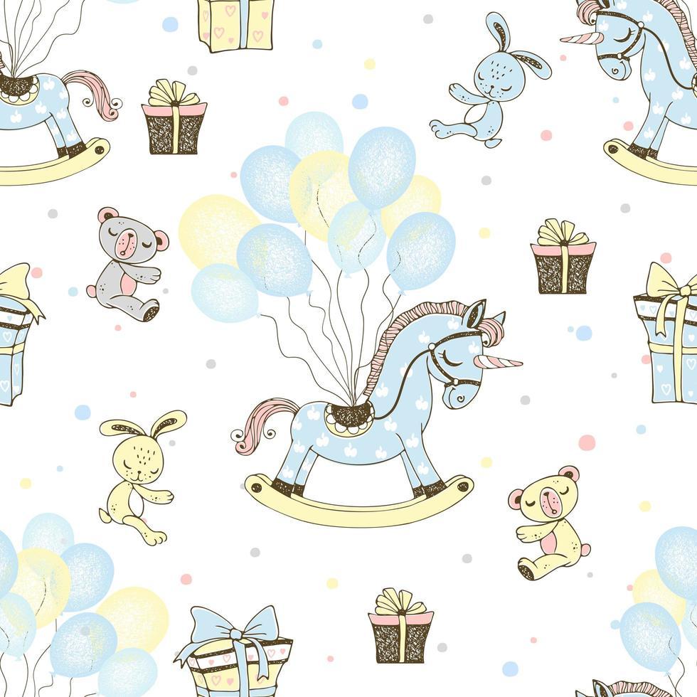ein Pferd und Luftballons zum Geburtstag des Jungen. vektor