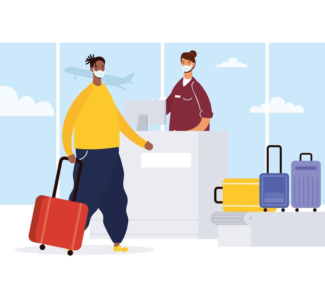 Mann mit Gesichtsmaske beim Einchecken am Flughafen vektor