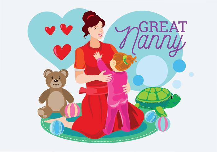 Nanny med barnvektor vektor