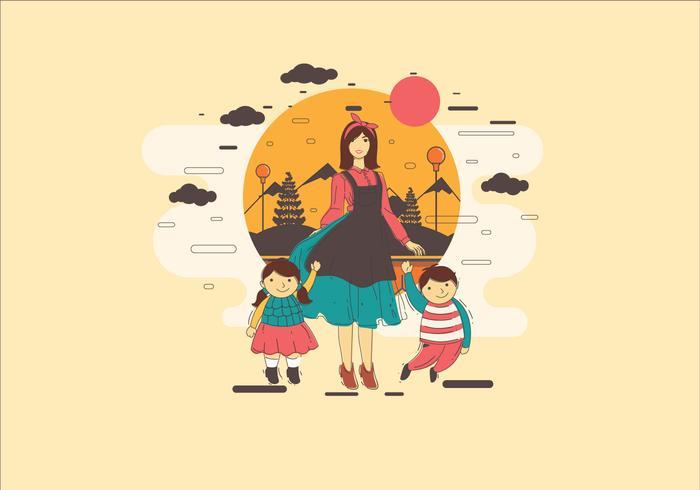 Kindermädchen mit zwei Kindern Vektor