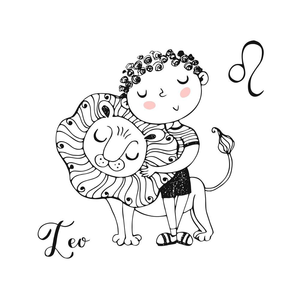 das Sternzeichen Leo. süßer Junge mit einem Löwen vektor