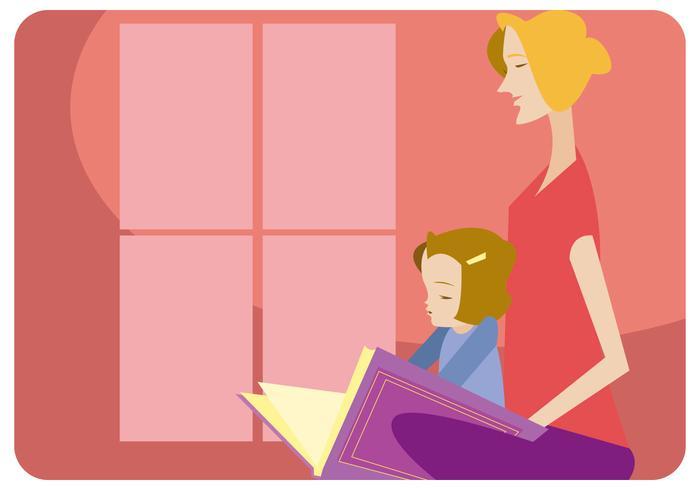 Kindermädchen und Mädchen, die Vektor lesen