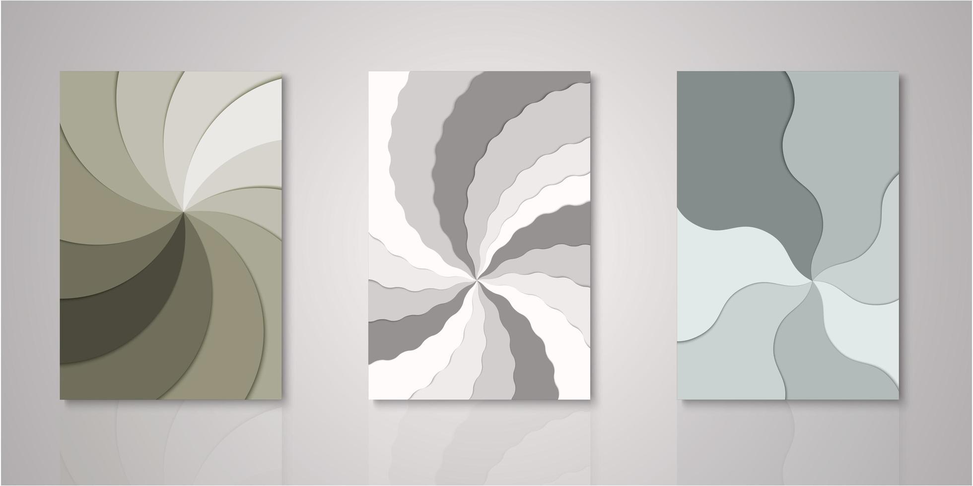 Satz Windradschichten Papierschnittabdeckungen vektor