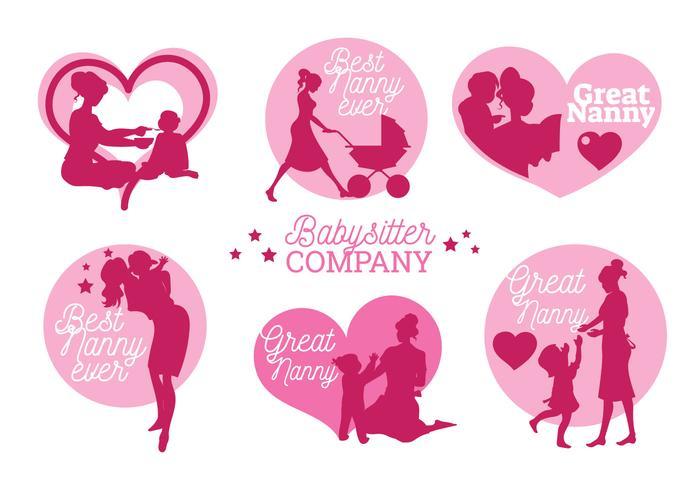 Set med Nanny Labels och Badge Vectors