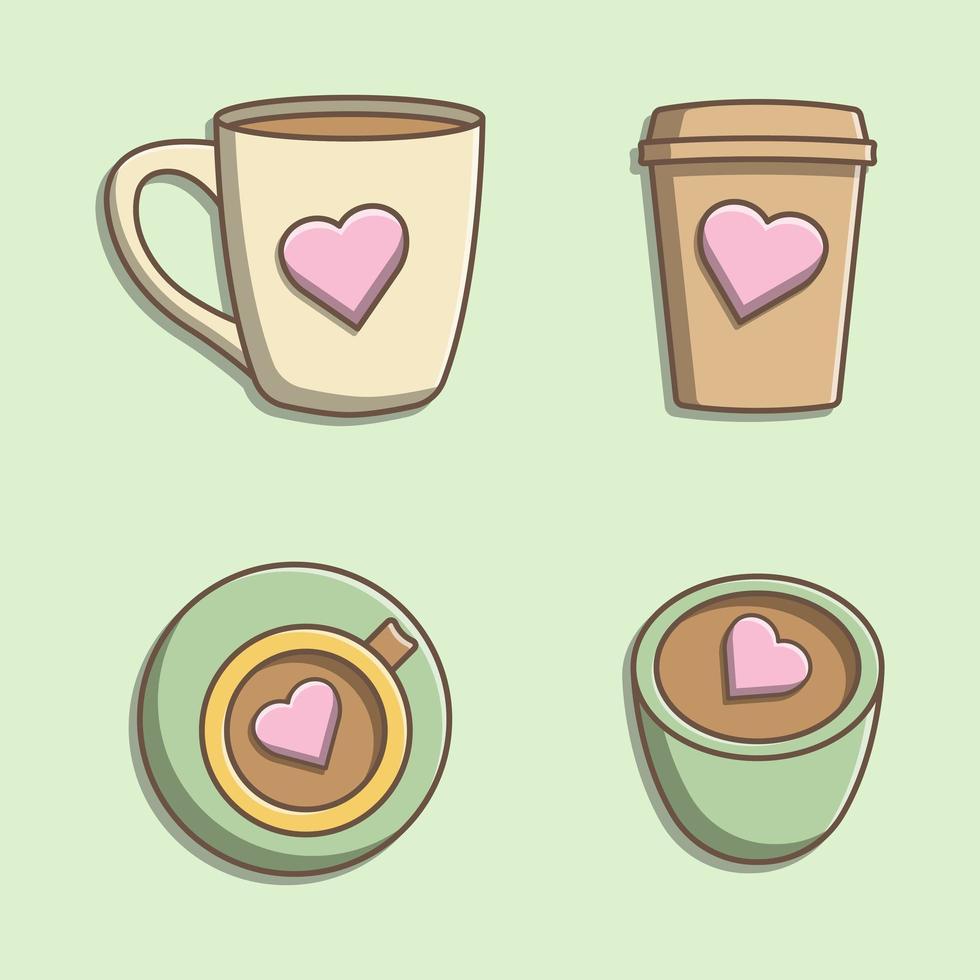 Satz süße Tassen vektor