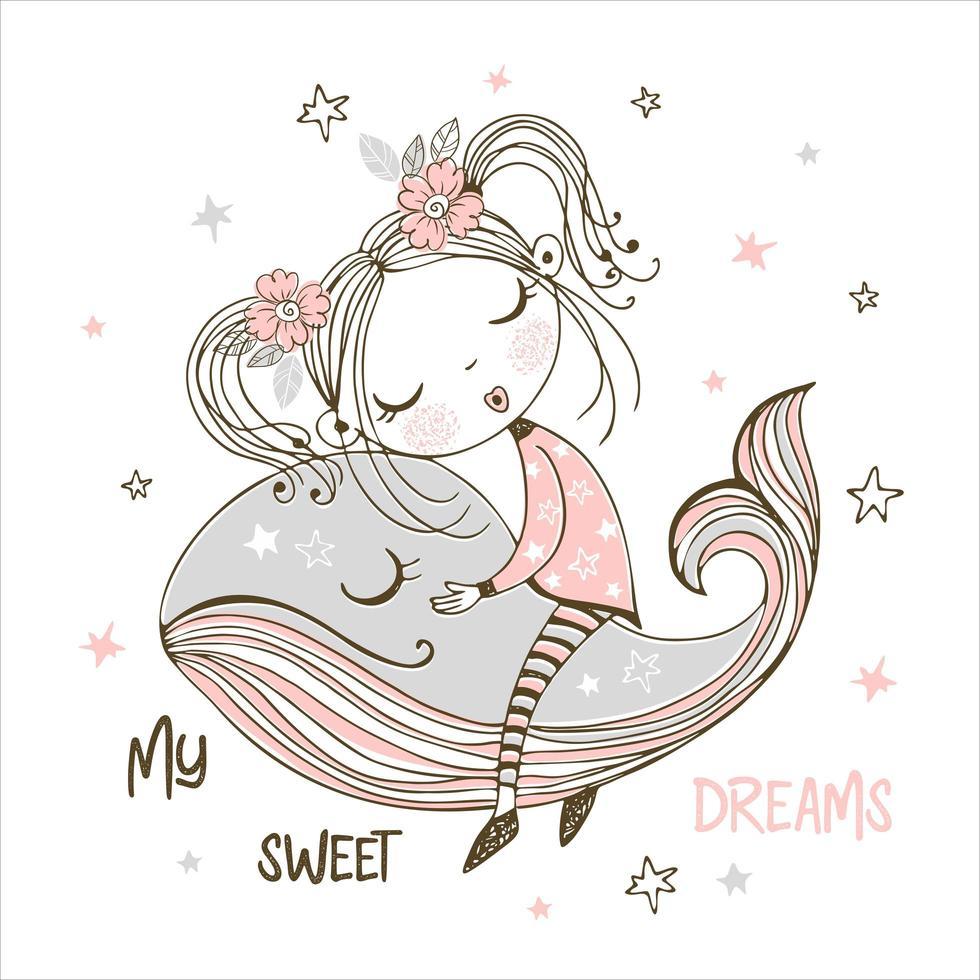 süßes Mädchen, das süß auf einem magischen Wal schläft vektor