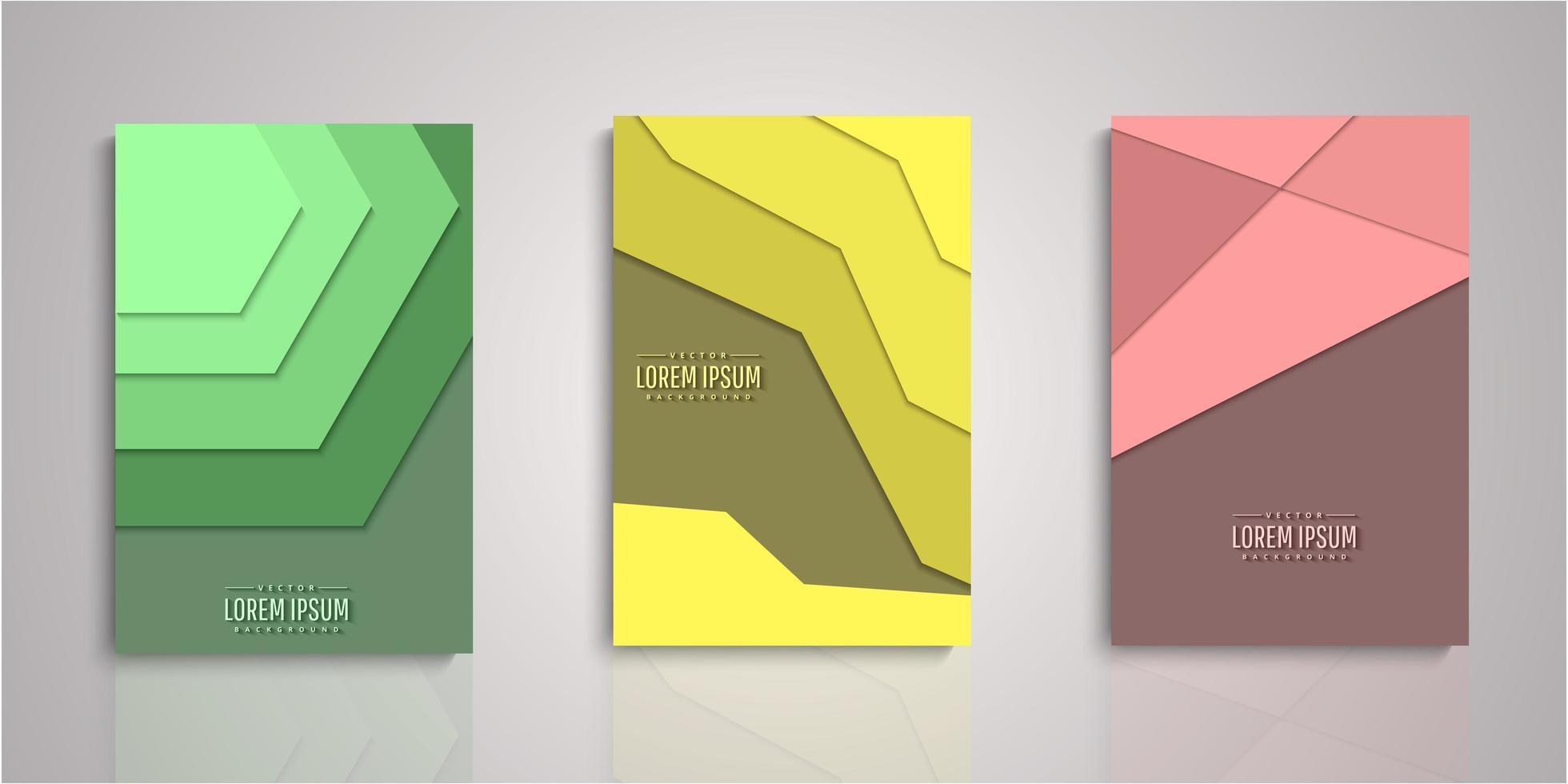 uppsättning abstrakta form papper skära lager täcker vektor