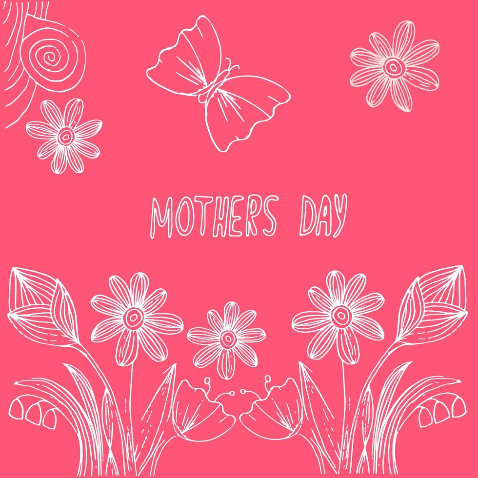 handgezeichnete Postkarte für Muttertag vektor