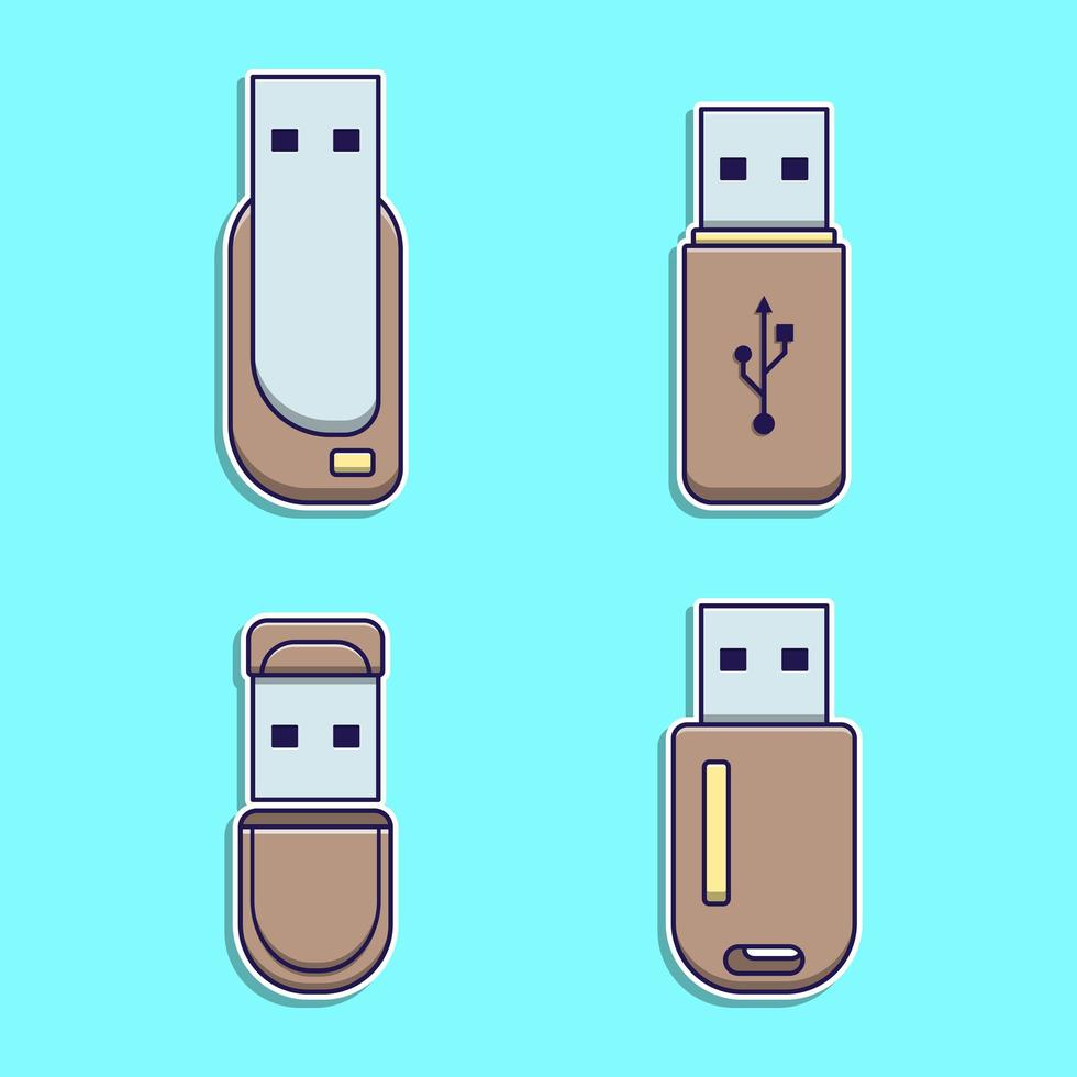 Set süße Cartoon USB-Flash-Disks vektor