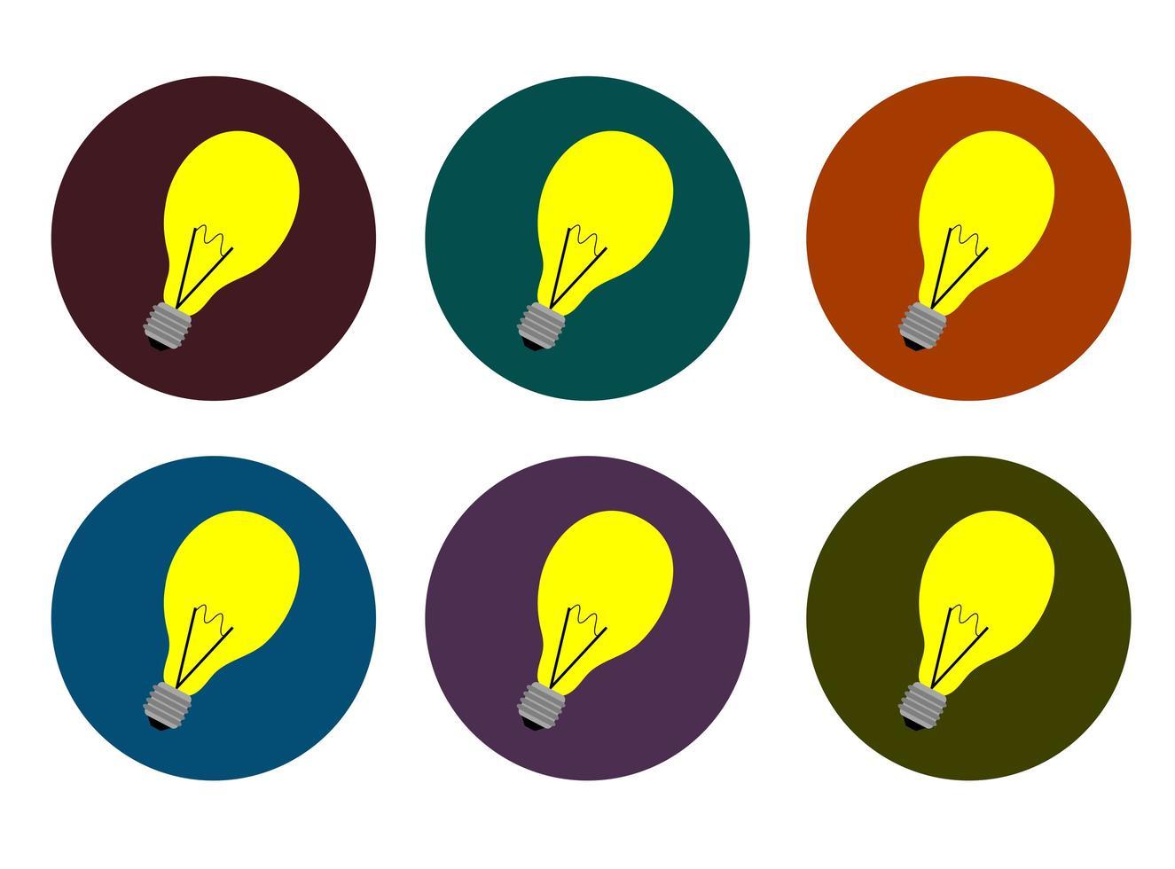 flache Art Lampe Icon Set vektor