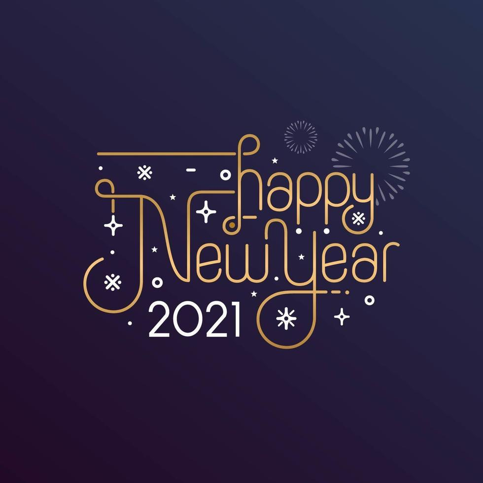 Frohes neues Jahr 2021 Typografie für Grußkarte vektor