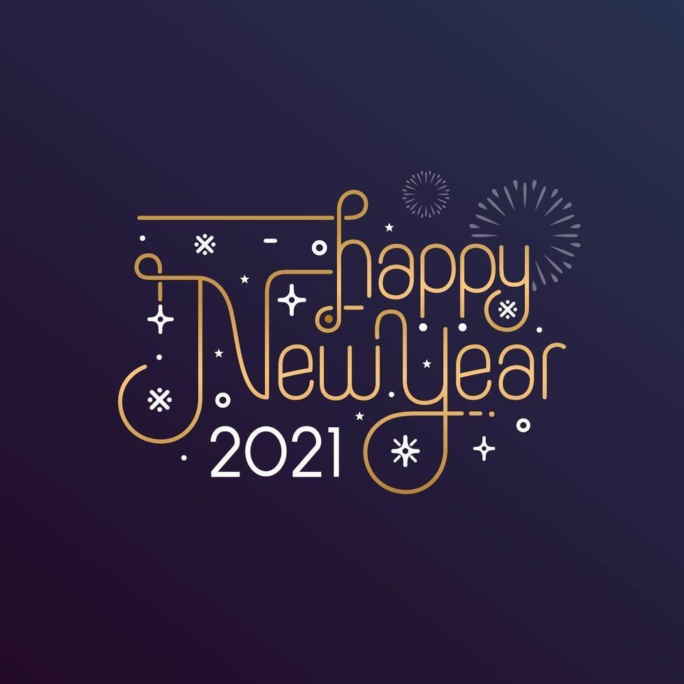 gott nytt år 2021 typografi för gratulationskort vektor