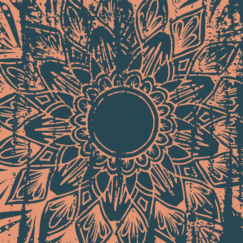 Grunge-Stil Blumenmandala Hintergrund vektor