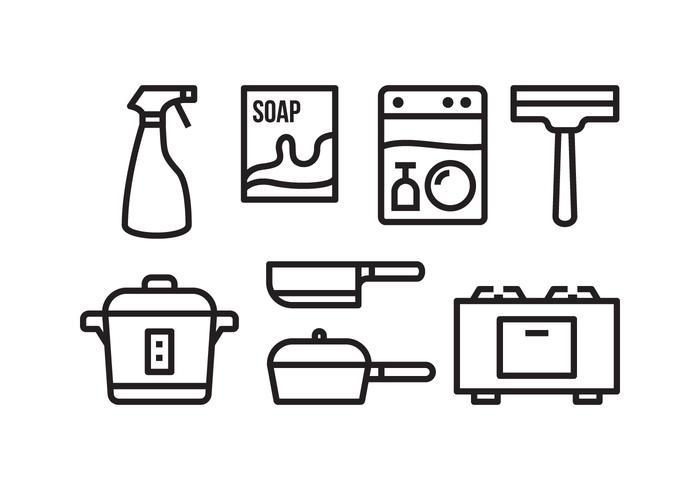 Kostenloses Hausarbeit Icon Set vektor